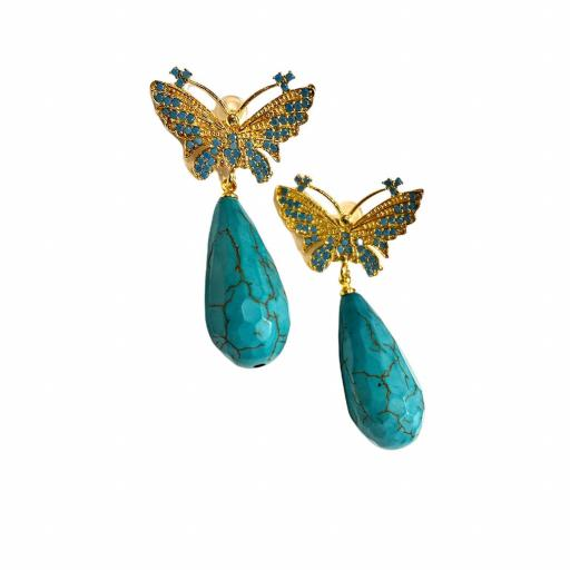 Pendientes estilo otomano - Mariposas turquesas