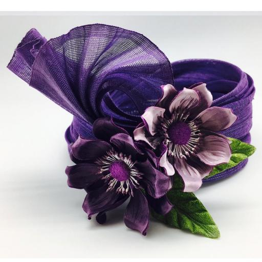 Turbante sinamay seda con decoración floral [0]