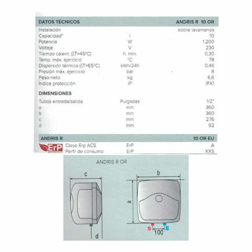 Termo eléctrico Ariston Andris 10R ES EU [1]