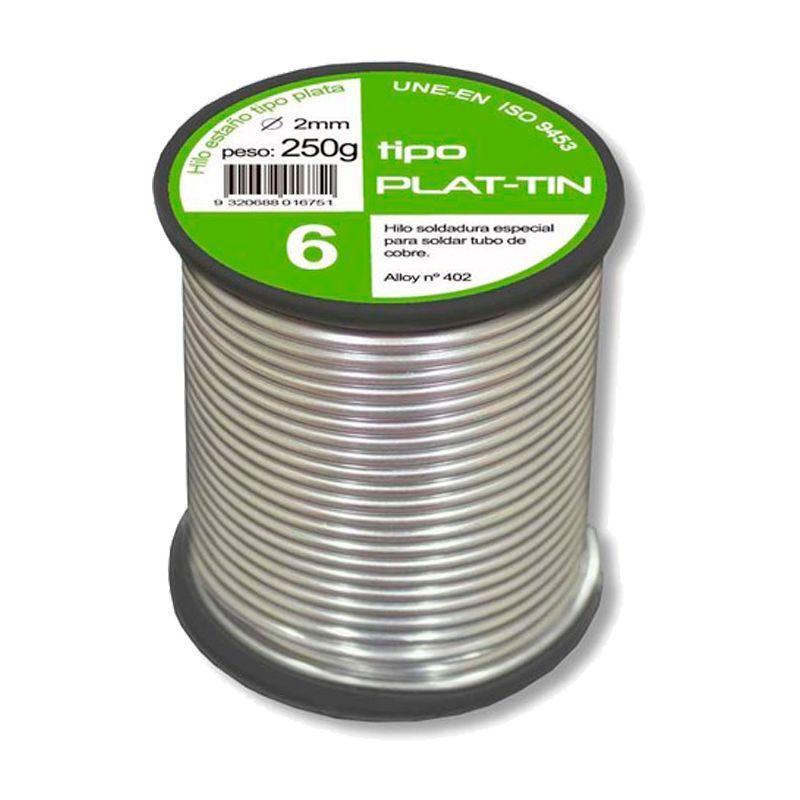 Rollo estaño plata 6% 2mm. 250 gr.