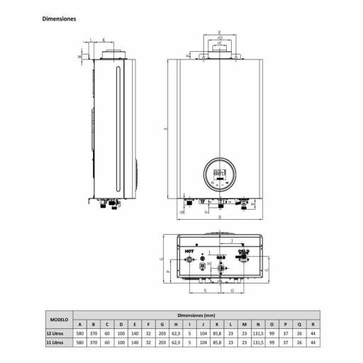 Calentador Estanco Gas butano Bajo nox Kaltec 12l. [2]