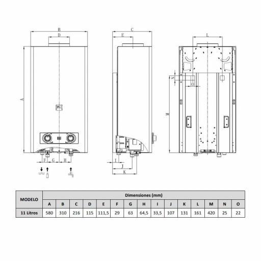 Calentador Atmosférico Juntek  JCAH-11 B, Low Nox, Gas butano [2]