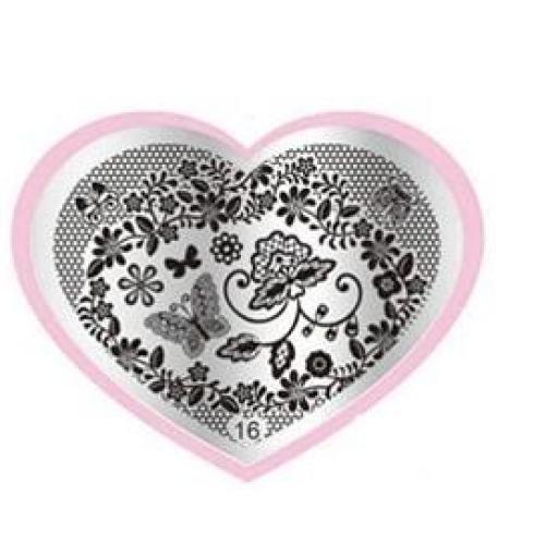 Placa stamping corazón 16