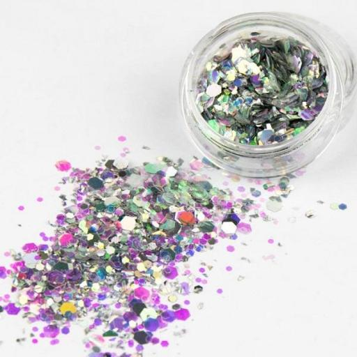 Polvo de glitter Crystal hexa silver