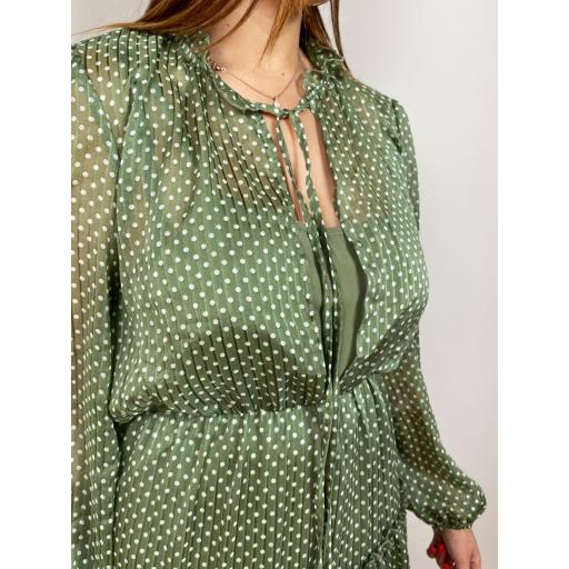 Vestido Topos Verde [2]