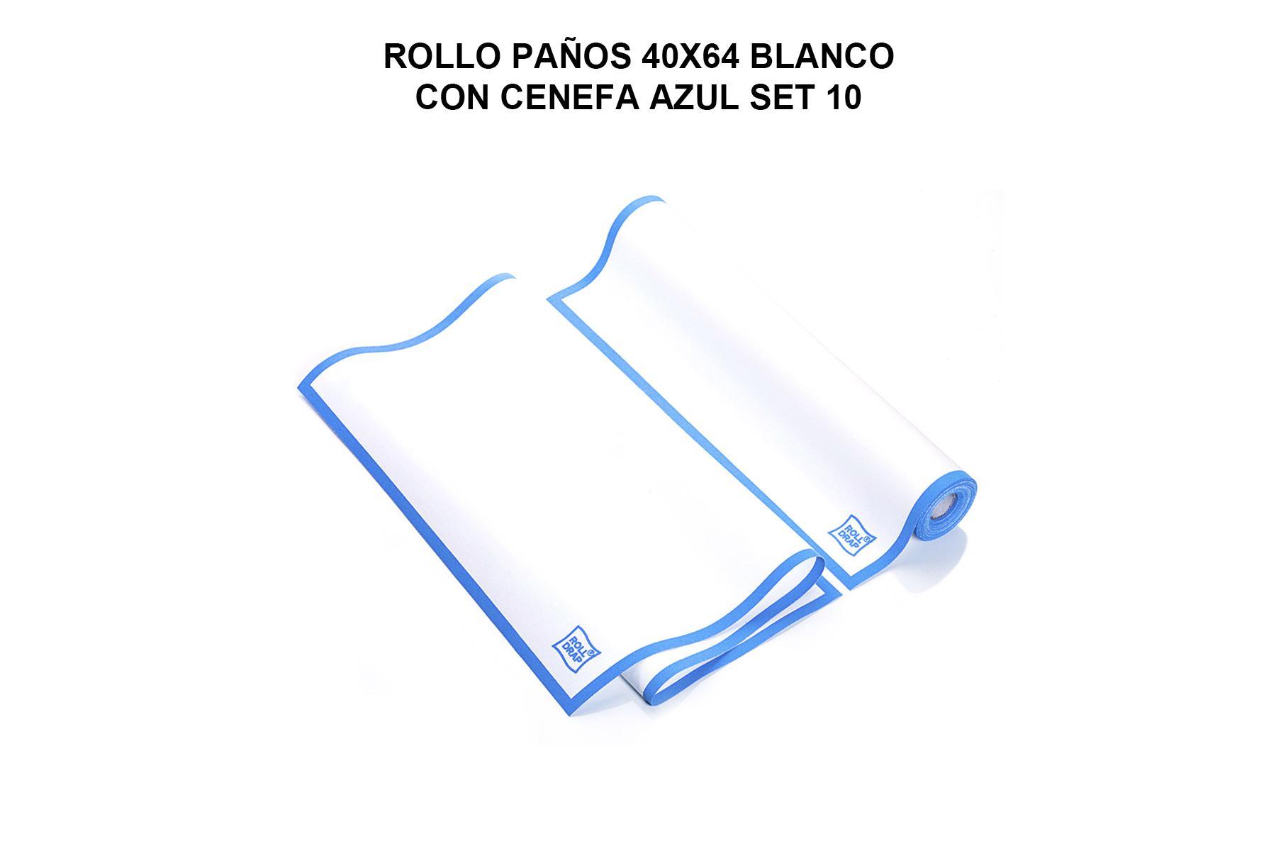 ROLLO PAÑOS 40X64 BLANCO CON CENEFA AZUL ROLL DRAP  (10 UND POR ROLLO)