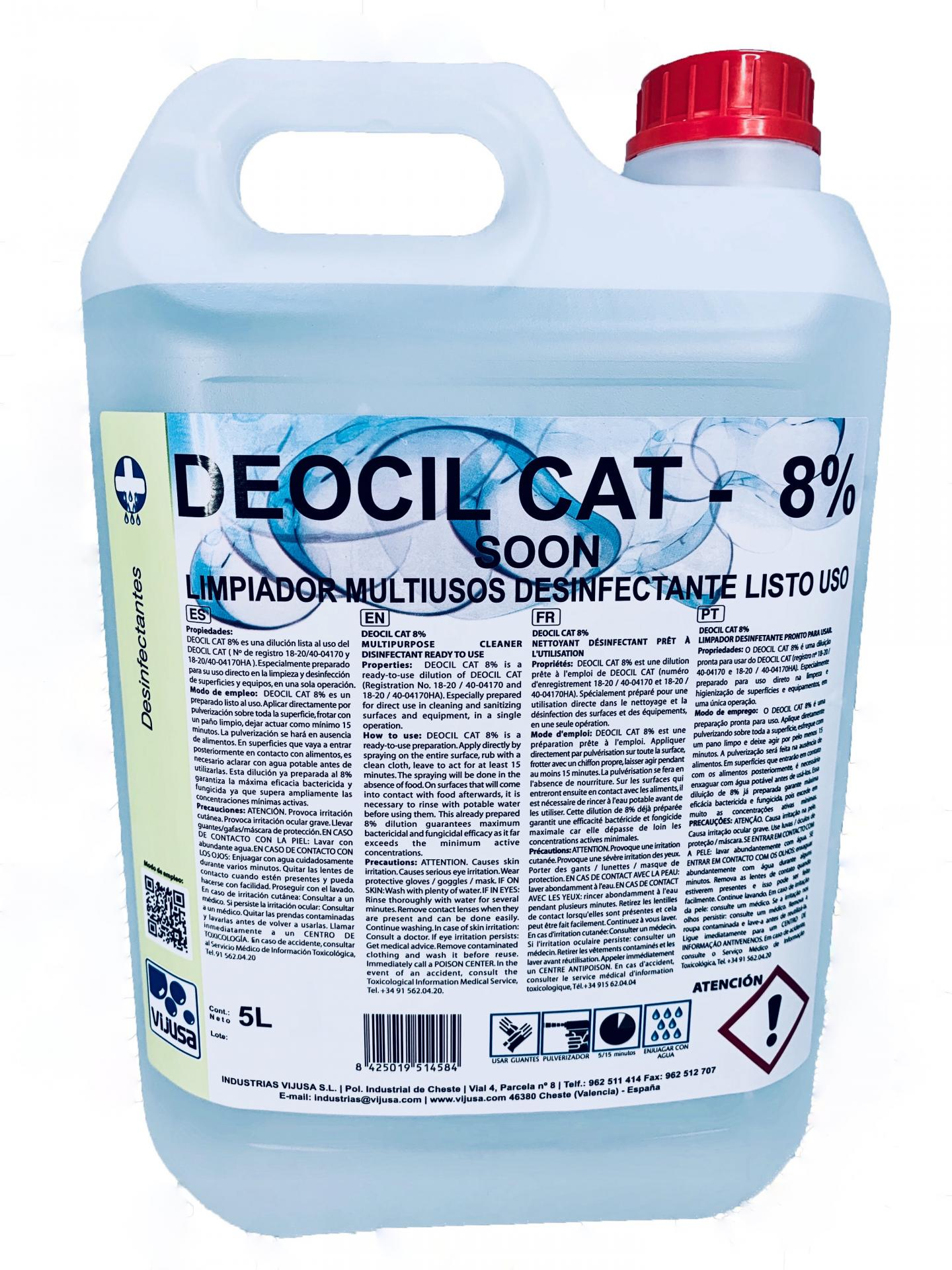 DEOCIL CAT 8% SOON DESINFECTANTE 5L