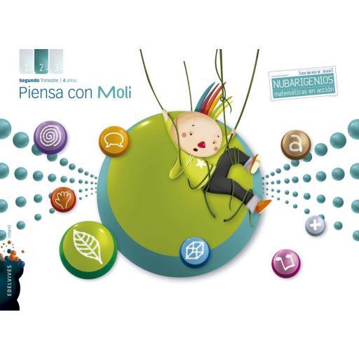 LIBRO DE TEXTO - 2 INFANTIL PIENSA CON MOLI 2º TRIMESTRE NUBARIGENIO 4 AÑOS