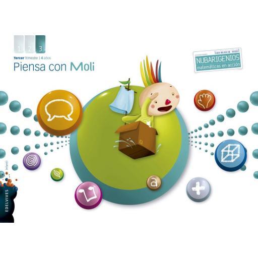LIBRO DE TEXTO - 2 INFANTIL PIENSA CON MOLI 3º TRIMESTRE NUBARIGENIO 4 AÑOS