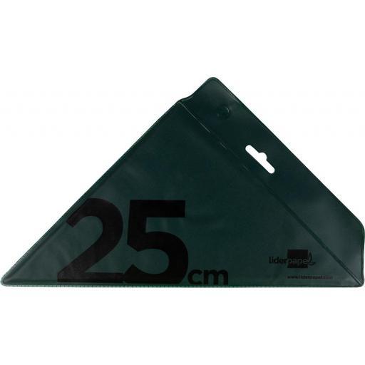 ESCUADRA TÉCNICA DE 25 PLÁSTICO VERDE LIDERPAPEL [2]