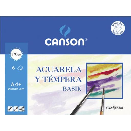 LÁMINAS ACUARELA CANSON LISO A4+ 370 GR. 6 U.
