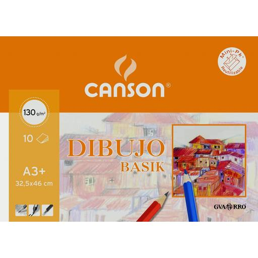 LÁMINAS DE DIBUJO CANSON LISO A3+ 130 GR. 10 U.