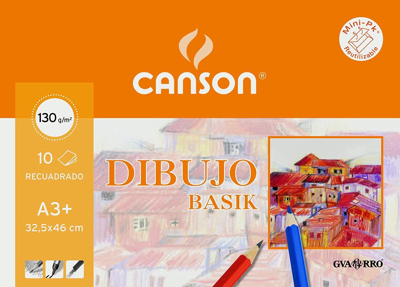 LÁMINAS DIBUJO CANSON RECUADRO A3+ 130 GR.10 U.
