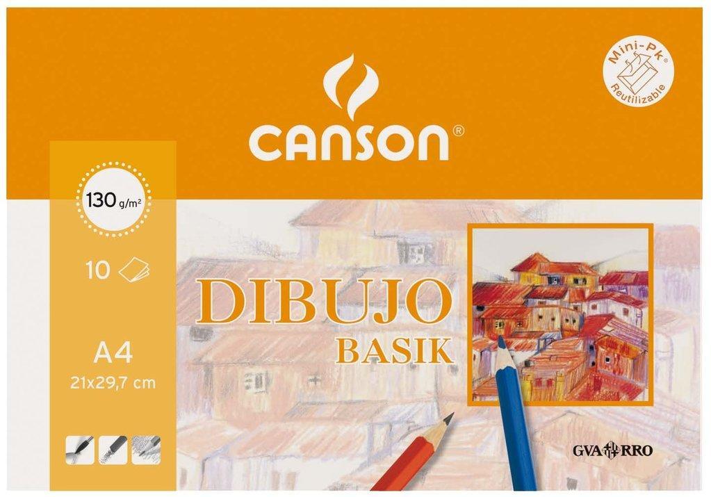 LÁMINAS DIBUJO CANSON LISO A4 130 GR.10 U.