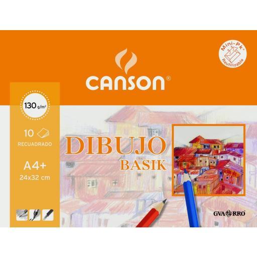 LÁMINAS DIBUJO CANSON RECUADRO A4+ 130 GR.10 U.