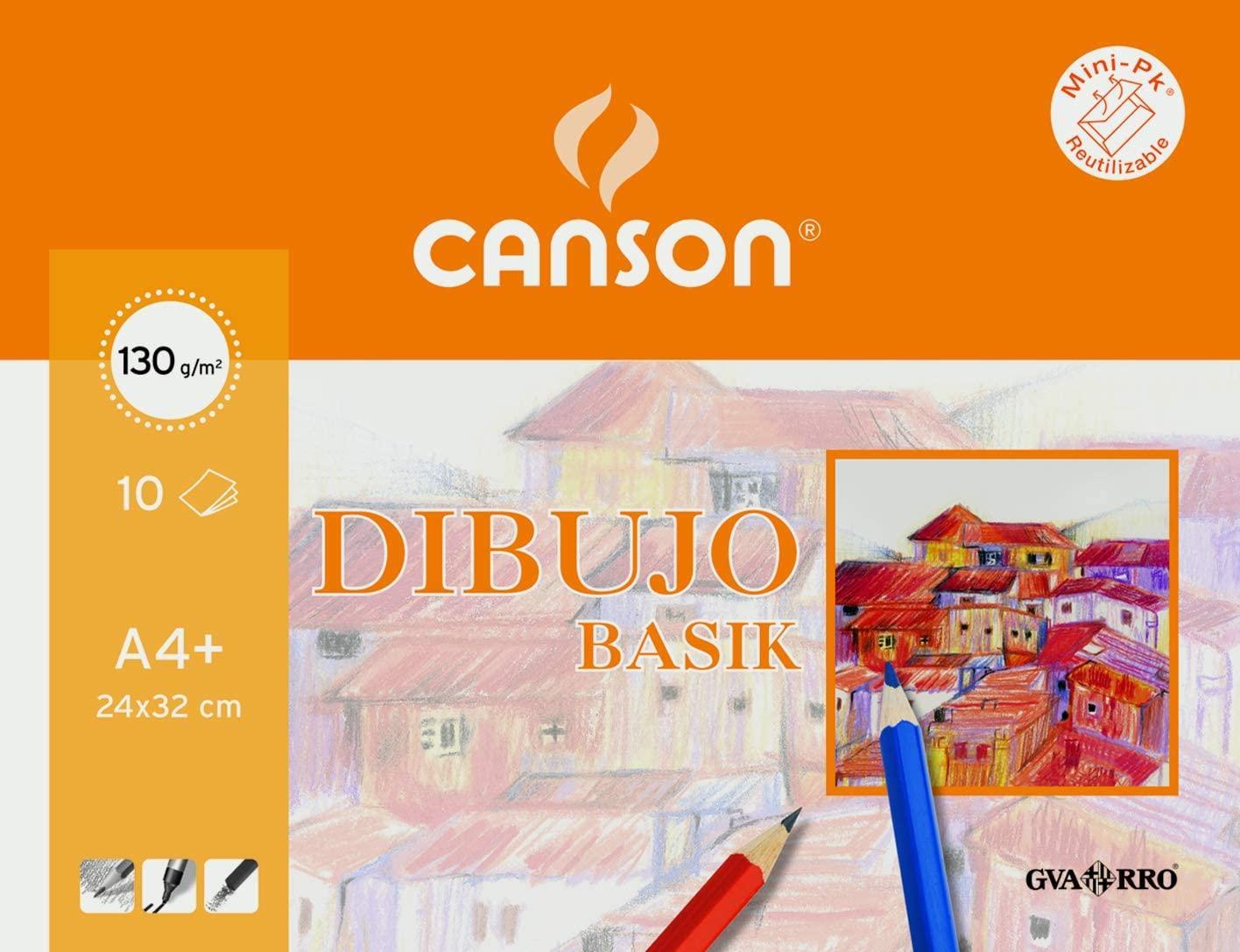 LÁMINAS DIBUJO CANSON LISO A4+ 130 GR.10 U.