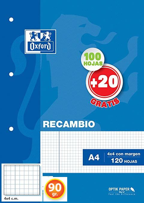 RECAMBIO OXFORD A4 CUADRO 4X4 90GRS. 4 TALADROS 100U.
