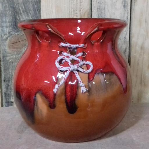 Maceta Olla cosida de color rojo y miel