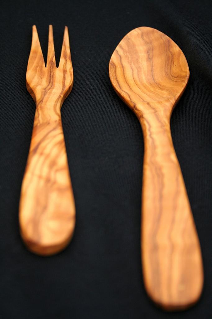 Juego cuchara y tenedor estrecho pequeño
