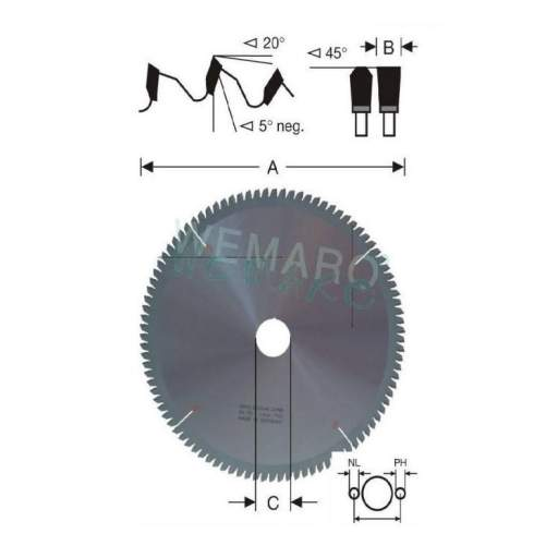 Disco de  corte HM angulo de corte negativo