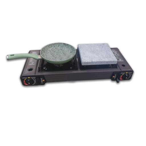 Cocina portatil con dos fuegos 2 piedras volcanicas de 20x20, 2 cartuchos de repuesto y levantador de piedra [2]