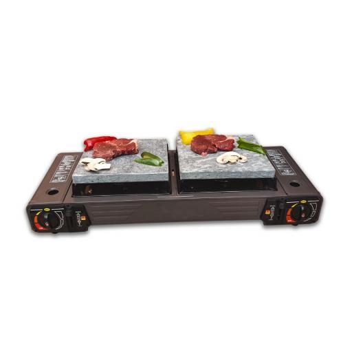 Cocina portatil con dos fuegos 2 piedras volcanicas de 20x20, 2 cartuchos de repuesto y levantador de piedra [1]