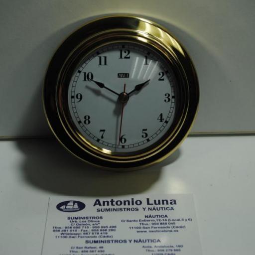 Reloj 95/70 mm. latón pulido.