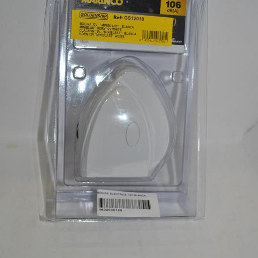 Bocina eléctrica Miniblast 12V blanca Marinco