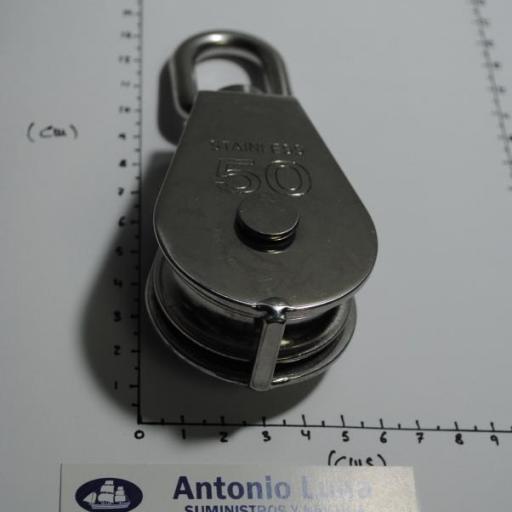 Polea simple giratoria de 50 mm inoxidable 316 para cabo de 10 mm Goldenship