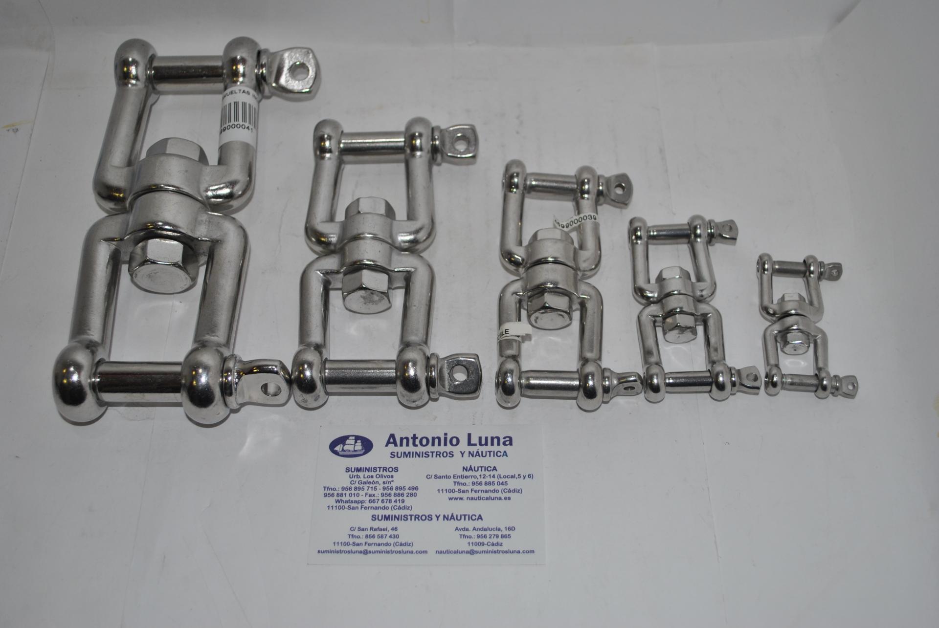 Sacavueltas (quitavueltas o giratorio) grillete-grillete de acero inoxidable AISI-316