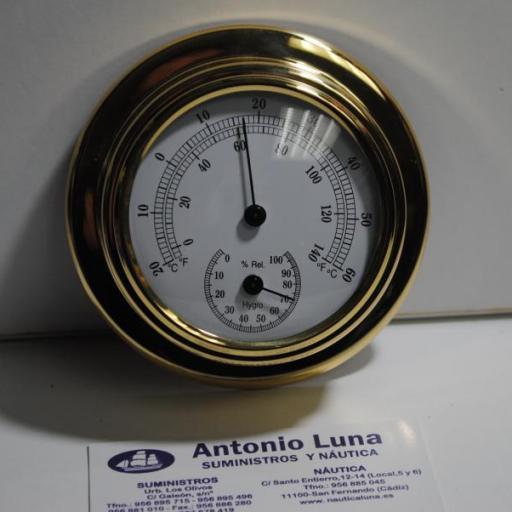 Termo-higrómetro 95/70 mm. latón pulido.