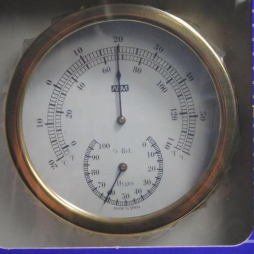 Termo-higrómetro de latón de 160 x 125 x 50 mm