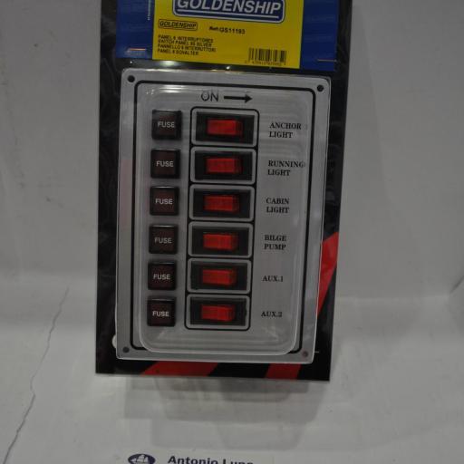 Panel eléctrico plateado 12V de 6 interruptores Goldenship