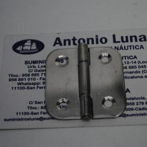 Bisagra de acero inoxidable 316 de 40 x 40 x 1 mm