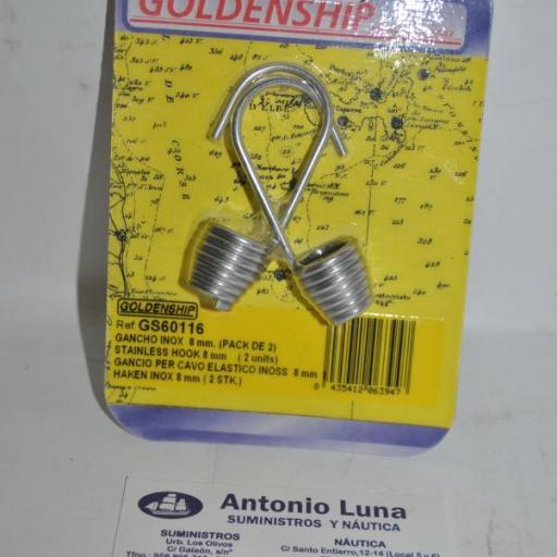 Gancho de acero inoxidable AISI-316 para cabo elástico de 8 mm Goldenship