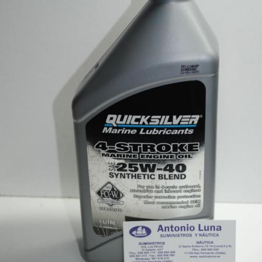 Aceite de motor de 4T sintético 25W-40 de 1 litro Quicksilver [0]