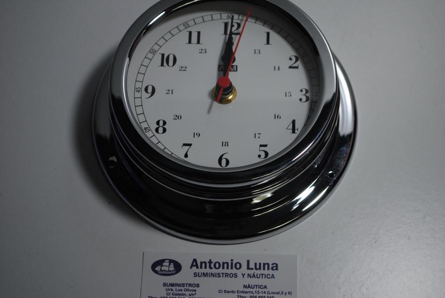 Reloj 150/120 mm. latón cromado.