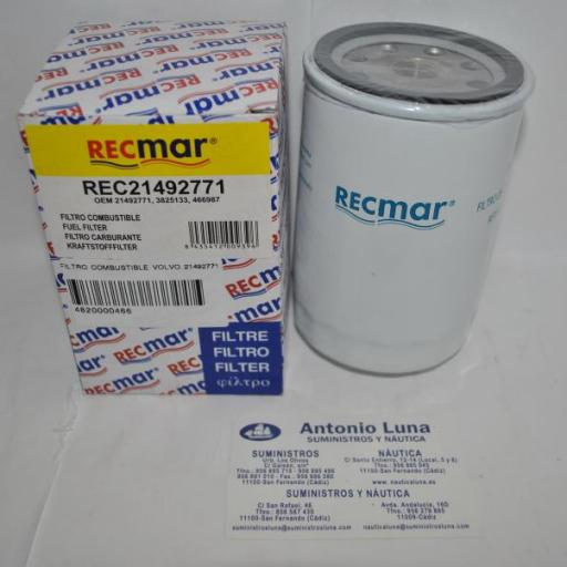 Filtro de combustible RecMar (equivalente) Volvo 21492771