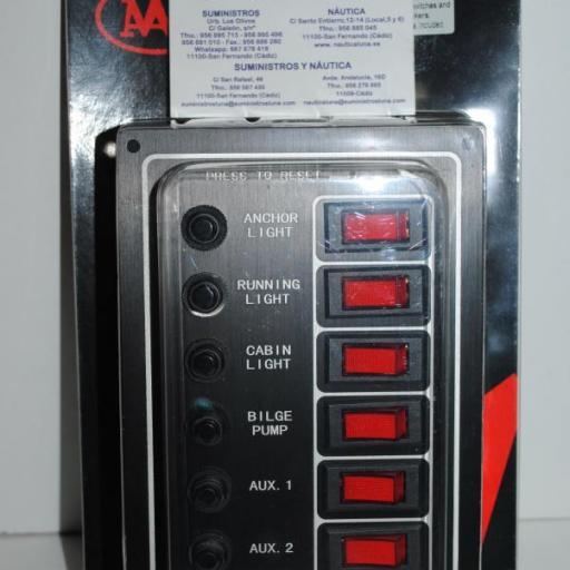 Panel eléctrico de 12V de 6 interruptores con luz y magnetotérmicos AAA
