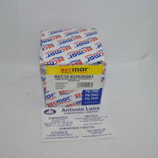 Filtro de aceite RecMar (equivalente) Mercury 35-822626Q03