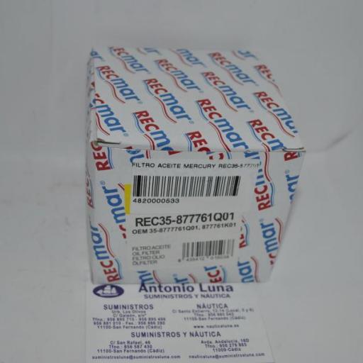 Filtro de aceite RecMar (equivalente) Mercury 35-877761Q01