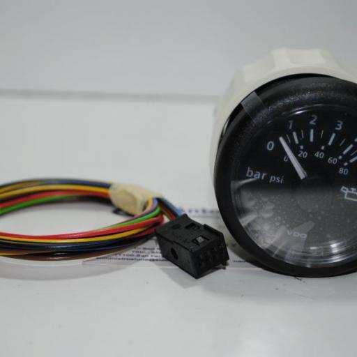 Manómetro (presión aceite) negro 52 mm VDO