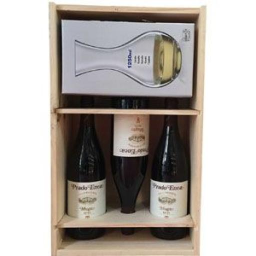 Caja madera 3 Botellas Prado Enea 2009 y Decantador