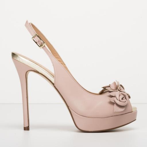 Zapato Peeptoe napa nude