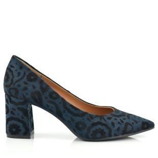 Zapato salón brocado azul y negro