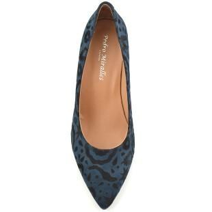 Zapato salón brocado azul y negro [1]
