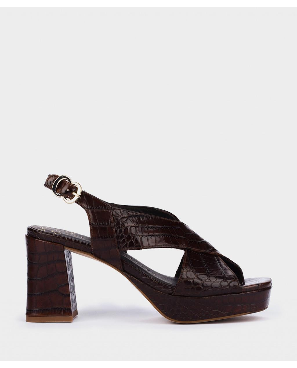 Pedro Miralles sandalias de tacón piel grabada