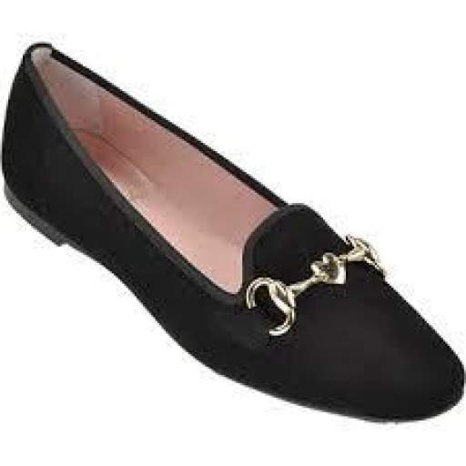 Pretty Ballerina Slipper ante negro adorno oro