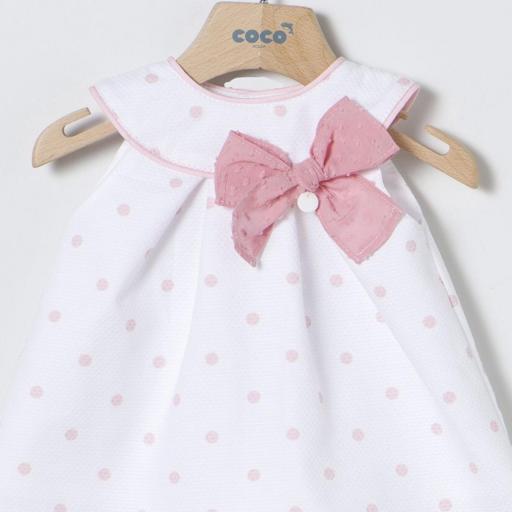 Vestido pìqué topitos rosa Coco Acqua [2]