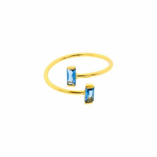 Anillo circonita azul Bilyfer